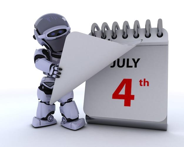 Robot con un calendario