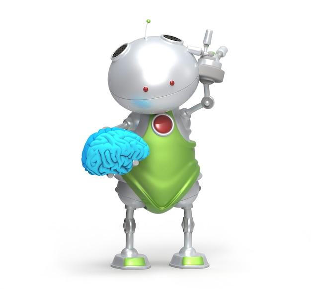 Robot con un cervello in mano, isolato