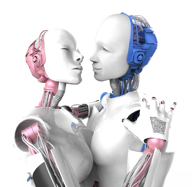 Robot degli amanti. bianco isolato