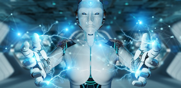 Robot della donna bianca che usando la rappresentazione digitale della connessione di rete 3d