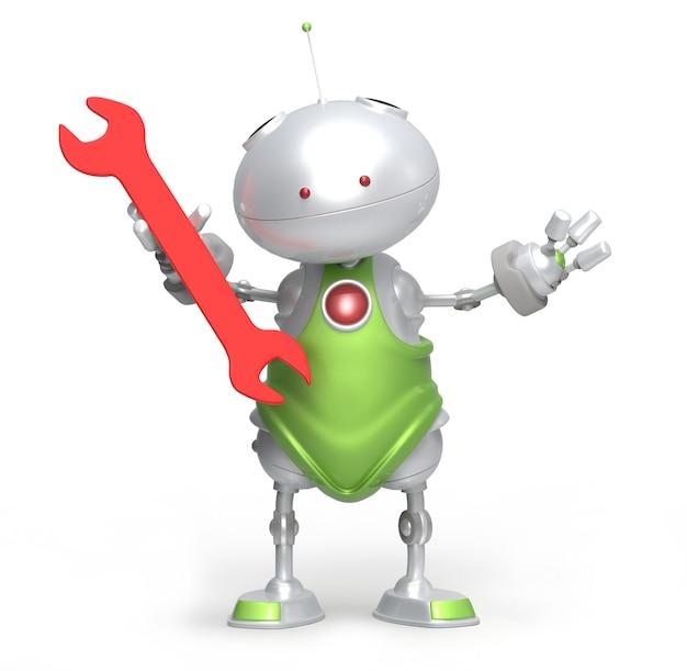 Robot e chiave rossa. isolato. rendering 3d
