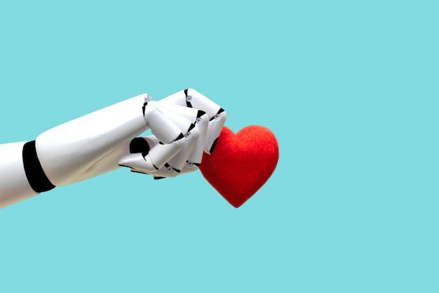 Robot mano che tiene il cuore tecnologia medica potenza futura