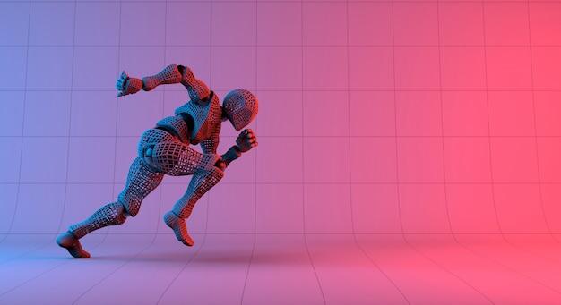 Robot wireframe corsa veloce su sfondo viola sfumato rosso