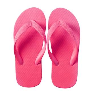 Rosa dei sandali della spiaggia di flip-flop isolato su bianco