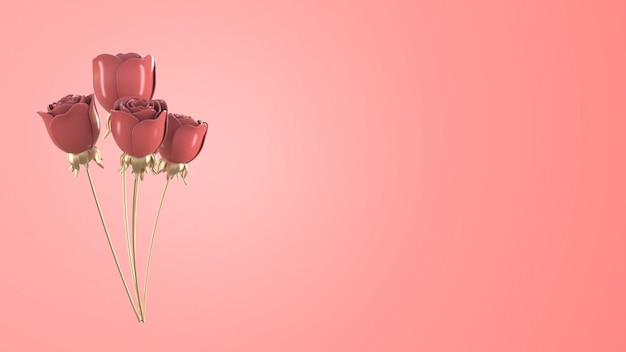 Rosa metallica astratta di rosa per il concetto del biglietto di s. valentino, 3d che rende fondo rosa.