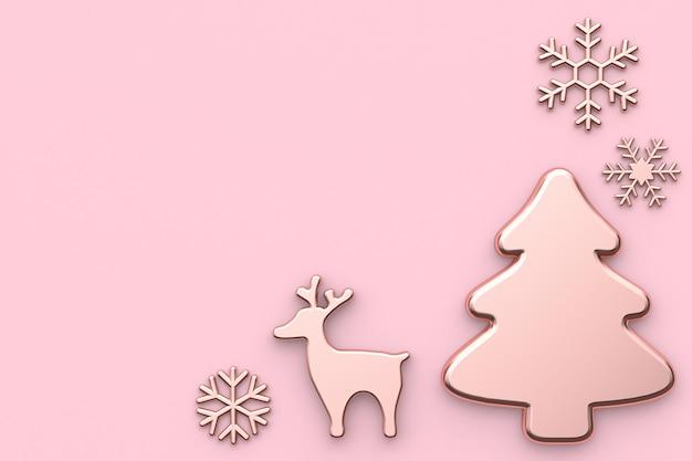 Rosa rosa dell'albero di natale della renna della neve dell'estratto di concetto del nuovo anno di festa di natale
