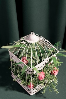Rose ad angolo alto chiuse in gabbia bianca
