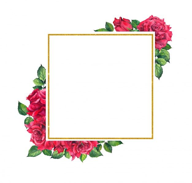 Rose rosse, cornice quadrata dorata. scheda dell'acquerello con fiori e corona
