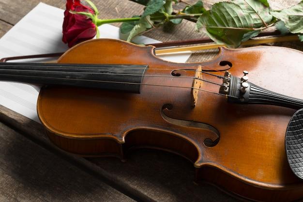 Rose rosse e un violino