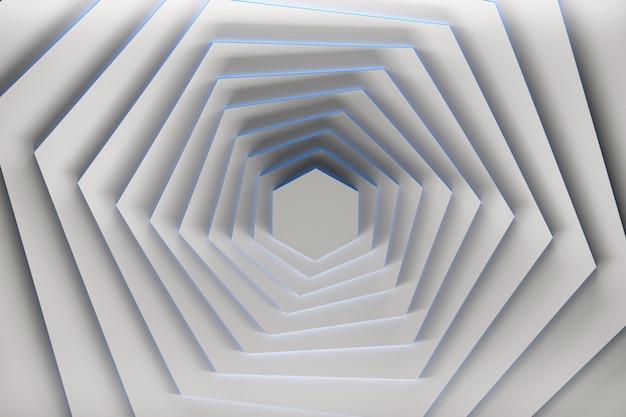 Rotazione di esagoni bianchi puri con bordi blu.