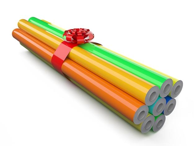 Rotoli di pellicola per avvolgimento auto confezionati in regalo con striscia rossa