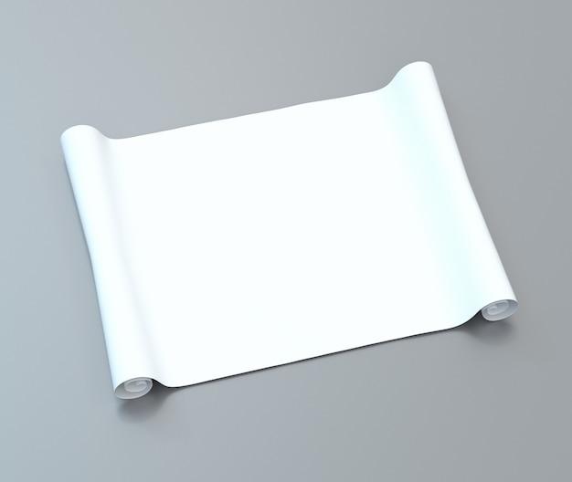 Rotolo di carta bianca vuota su una superficie grigia. illustrazione 3d