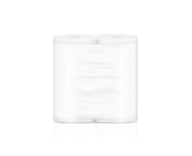 Rotolo di tovagliolo bianco vuoto imballaggio, isolato,