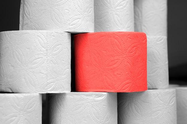 Rotolo rosso speciale di carta igienica d'élite tra i tanti normali rotoli di carta igienica. caratteristiche del concetto, elitismo. a differenza degli altri.
