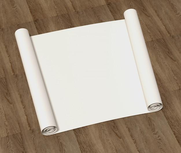Rotolo vuoto puro di carta da disegno su una superficie di legno. illustrazione 3d