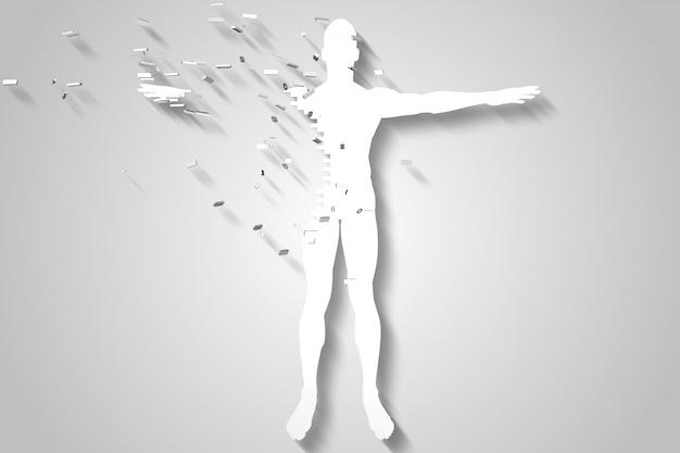 Rottura del corpo del puzzle bianco generato digitalmente