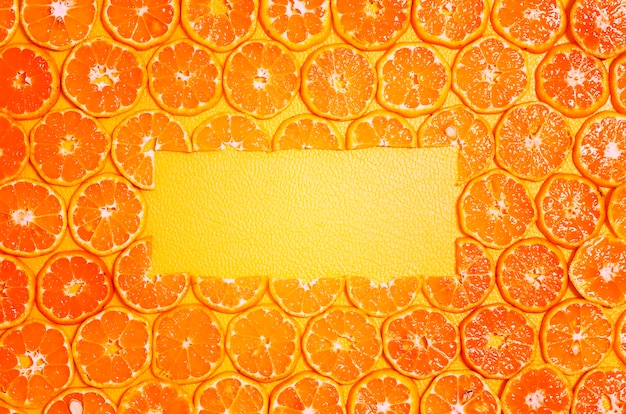 Round orange slices fruit copy space