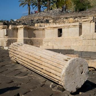 Rovine di costruzione nel sito archeologico, bet she'an national park, distretto di haifa, israele
