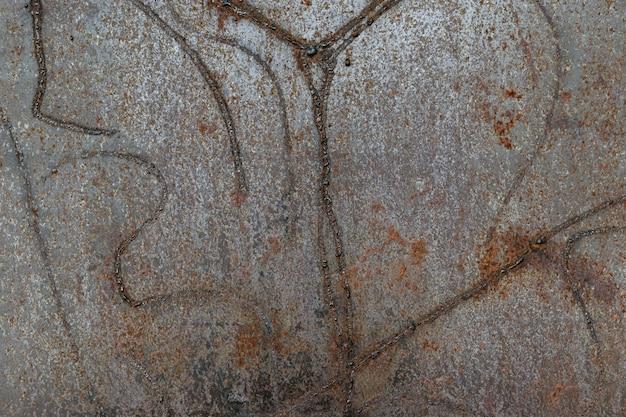 Ruggine sulla superficie della vecchia piastra di ferro. trama del metallo arrugginito. modello di macchie, graffi.