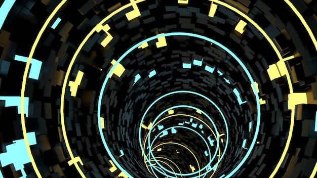 Running in circle light tunnel background in scena di festa retrò e sci fi.