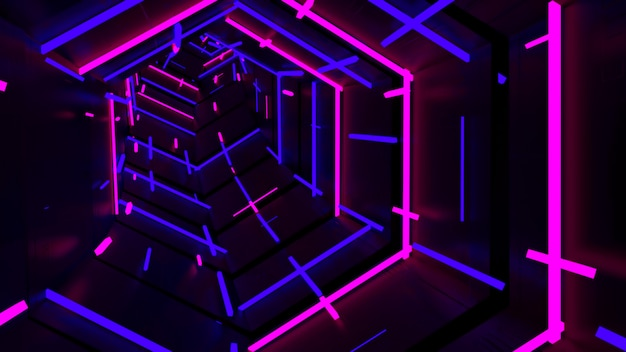 Running in neon light hexagon tunnel