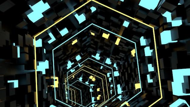 Running in neon light tunnel sfondo in scena di festa retrò e sci fi.