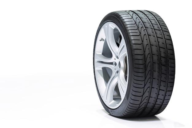 Ruota auto, pneumatici per auto, ruote in alluminio isolato su sfondo bianco.