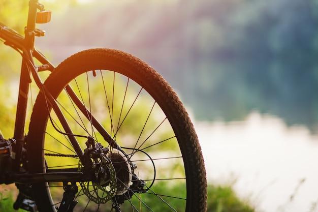 Ruota posteriore di una mountain bike sullo sfondo del fiume in estate al tramonto