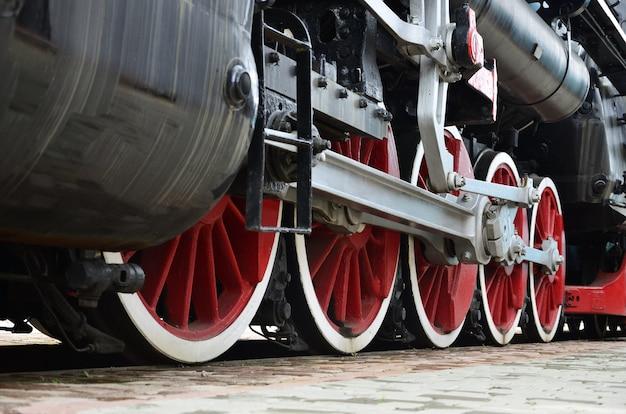 Ruote rosse del treno a vapore