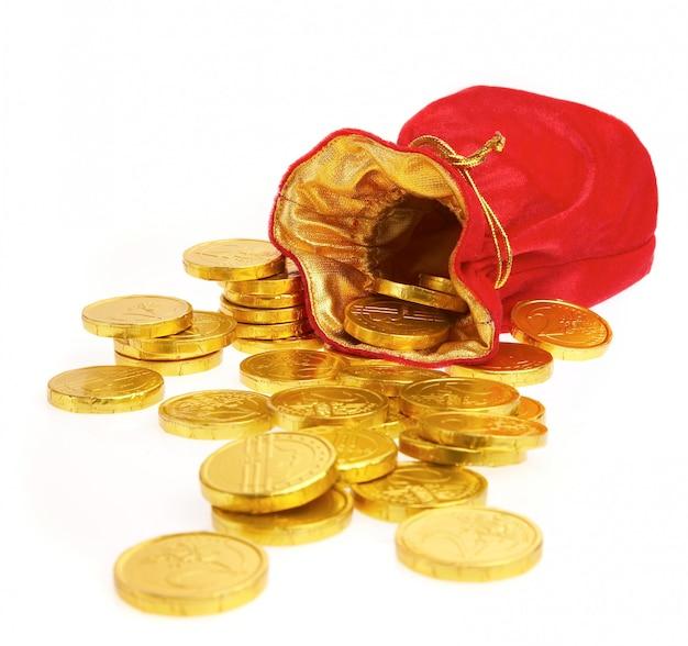 Sacchi di denaro con monete