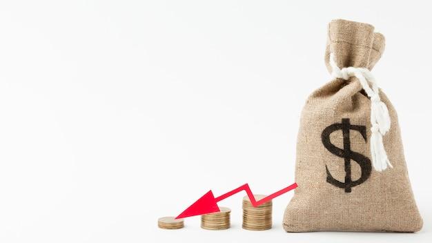 Sacco di iuta del concetto di fallimento dei soldi