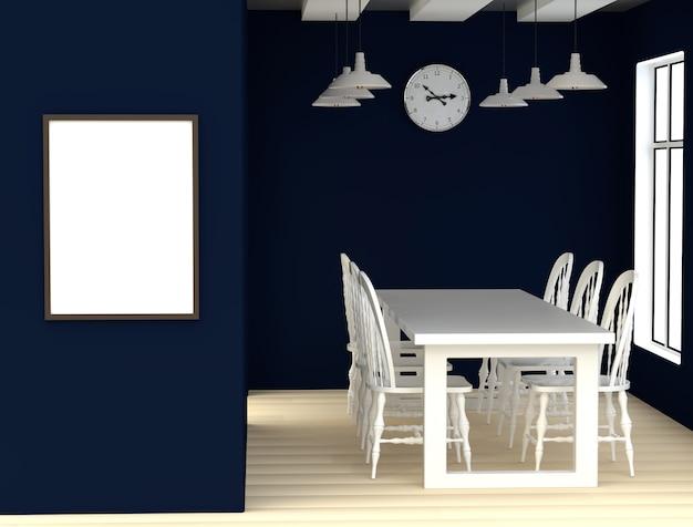 Sala da pranzo blu interna astratta 3d con tavolo bianco, sedie e finestra.