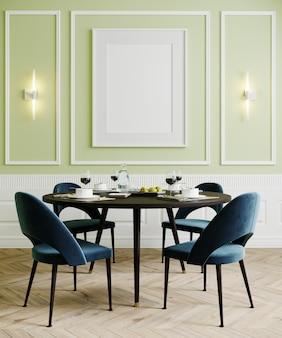 Sala da pranzo con le sedie e le lampade blu, derisione vuota verde chiaro della parete su, rappresentazione 3d