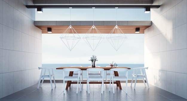 Sala da pranzo della spiaggia sulla vista del mare / rappresentazione 3d