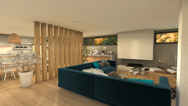 Sala da pranzo e cucina della casa moderna