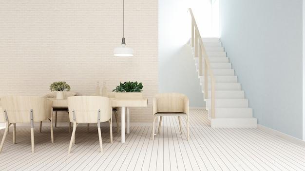 Sala da pranzo in casa o al ristorante - rendering 3d