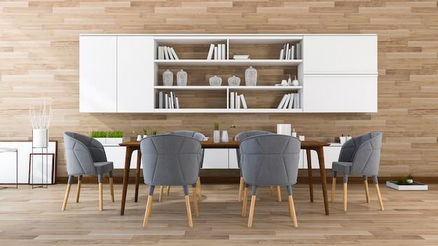 Sala da pranzo in legno e sala riunioni con bellissimi mobili e incorporato