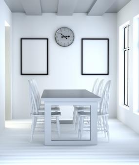Sala da pranzo interna astratta 3d con tavolo e sedie bianche.