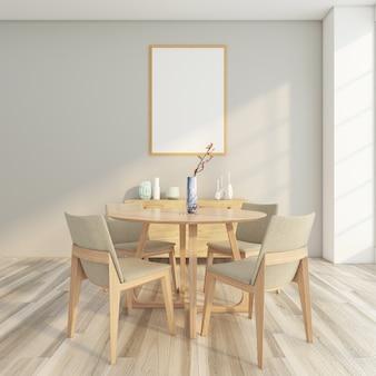 Sala da pranzo minimal con tavolo e sedia, credenza in legno, parete grigia e cornice