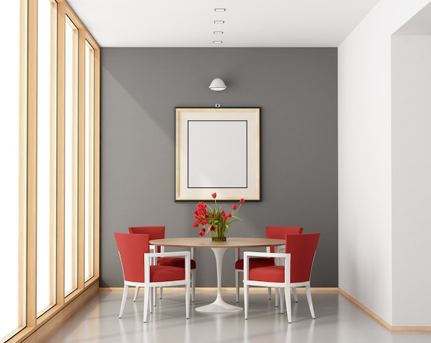 Sala da pranzo minimalista con tavola rotonda