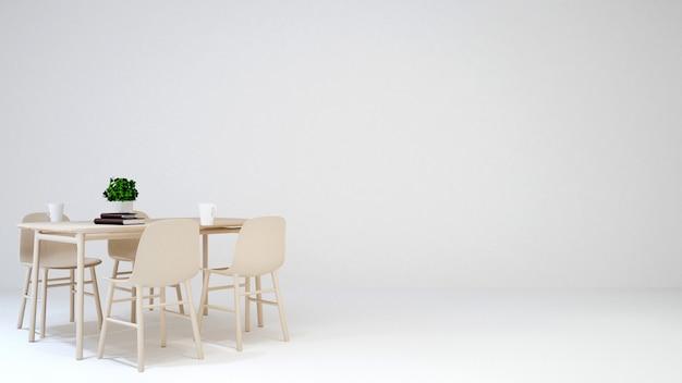 Sala da pranzo nella caffetteria o casa su sfondo bianco