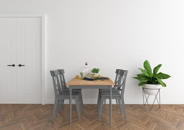 Sala da pranzo scandinava con muro bianco