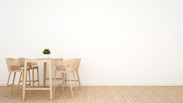 Sala da pranzo su design in legno - rendering 3d