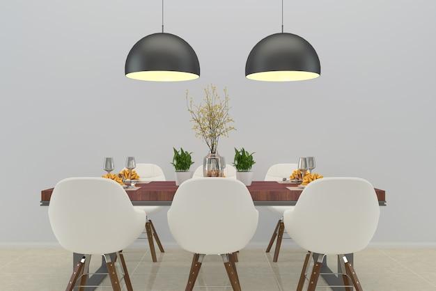 Sala da pranzo tavolo in legno vaso albero lampada soppalco pavimento in marmo modello interno bianco