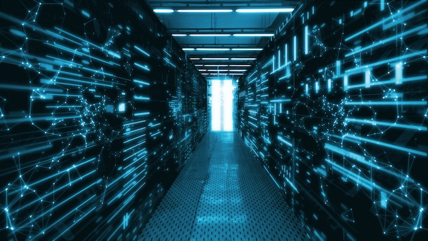 Sala del data center con server di dati astratti e indicatori a led luminosi