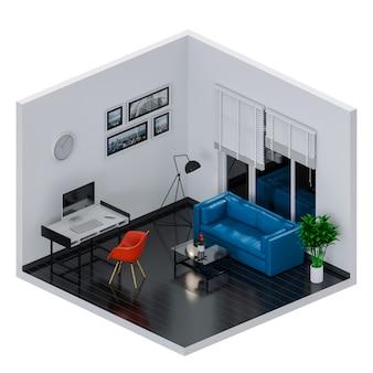 Sala interna per area di lavoro con computer desktop. rendering 3d