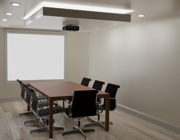 Sala riunioni con parete bianca, pavimento in legno, rendering 3d di spazio macchina copia proiettore