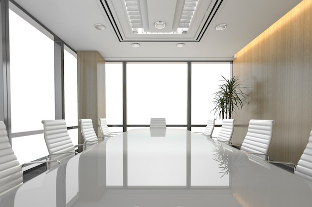 Sala riunioni d'affari di seminario della rappresentazione 3d sull'edificio per uffici
