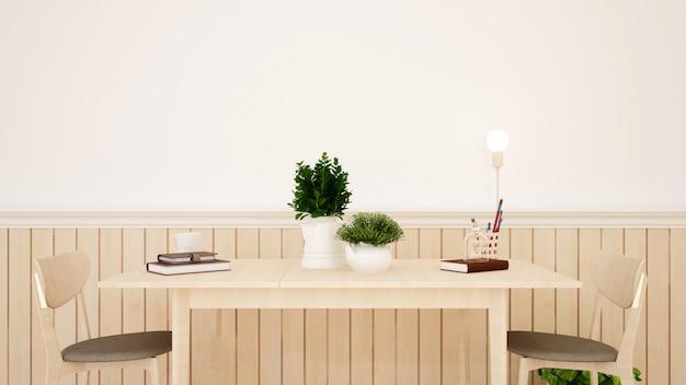 Sala studio o sala da pranzo in casa - rendering 3d