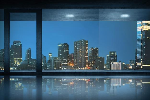 Sala ufficio vuota con vista sulla città